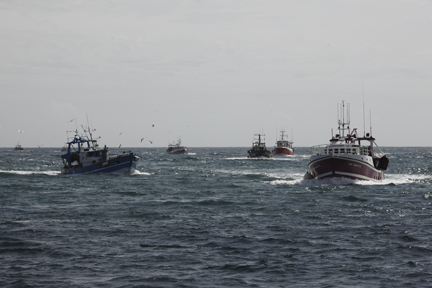 the Guilvinec fishing fleet returning