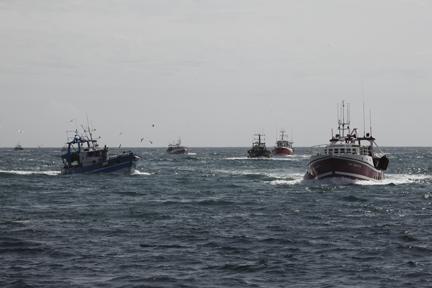 the Guilvinec fishing fleet returning