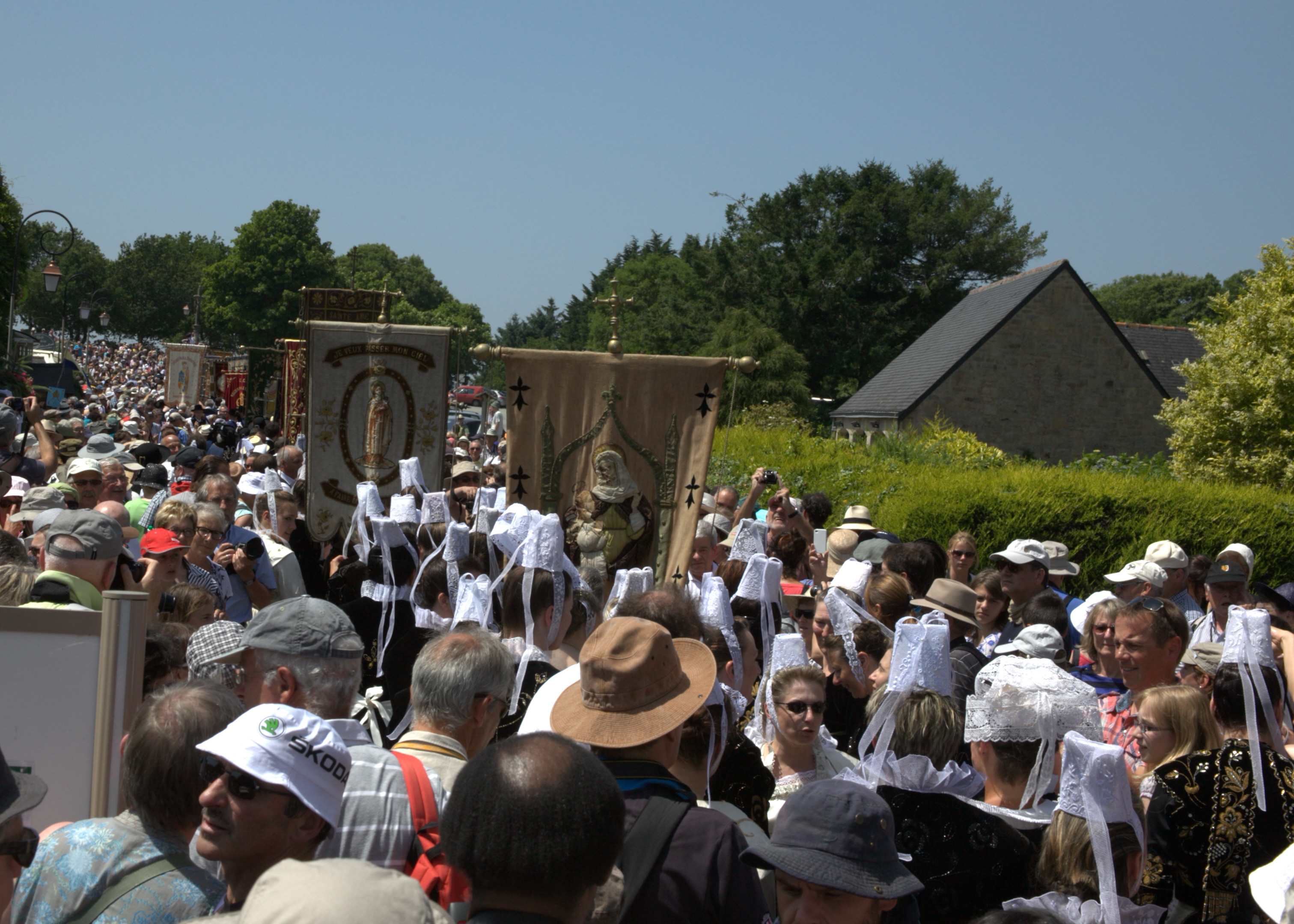 Participants set out at the start of the 14km procession through the breton countryside