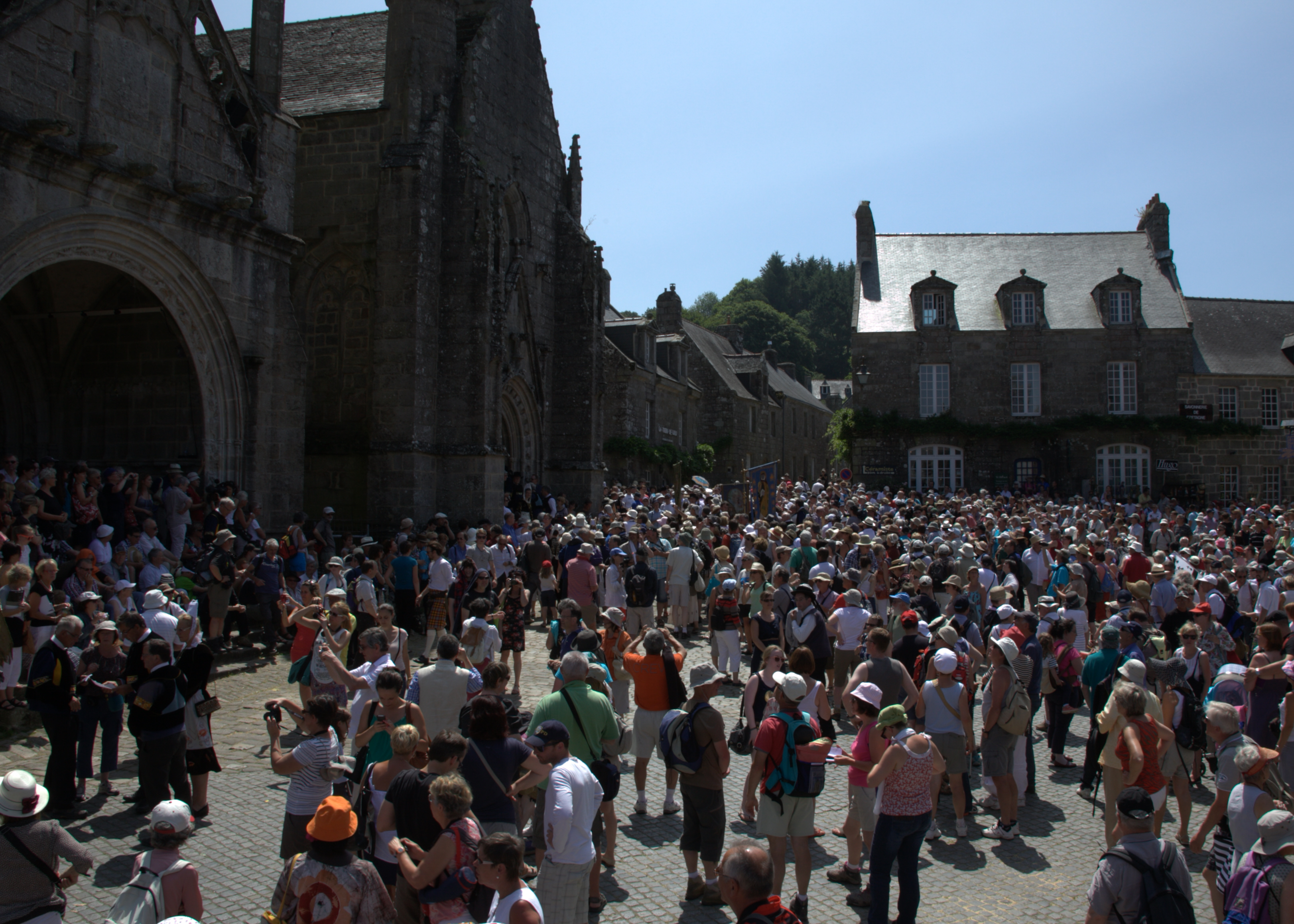 Everyone gathers for the start of the Procession